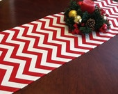 Table Runner - Red and White Chevron Table Runners - Chevron Table Runners For Weddings or Home Decor - Select A Size