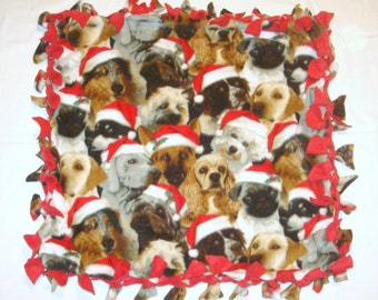 Fleece Tie Pet Blanket for Small Dogs or Cats - Christmas Dogs with Santa Hats