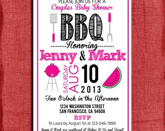 Printable BBQ Couples Baby or Wedding Shower  4x6 or 5x7 Invitation-DIY