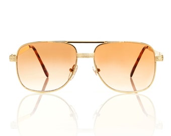Redford Gold Square Aviator Sunglasses - Beige Lens X American Deadstock