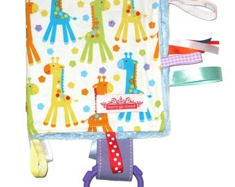 Taggy Snuggly Tag Toy Mini BABY Comforter for boys  - Jungle Giraffes on white