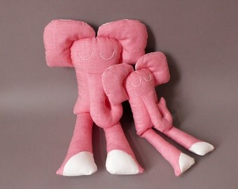 SALE Elephant and Baby - Elephant Plush Soft Toy stuffed Doll Plushie Softie