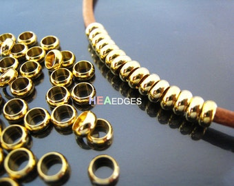 Finding - 20 pcs Gold Round Small Daisy Spacers Beads with Large Hole ( 5mm x 2mm )