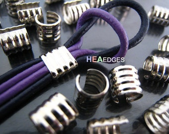 6 pcs Silver Crimp Cord Ends Cap - Findings Small Round Curve Adjustable Fold Over Crimps End Caps without Loop 7mm x 6.5mm