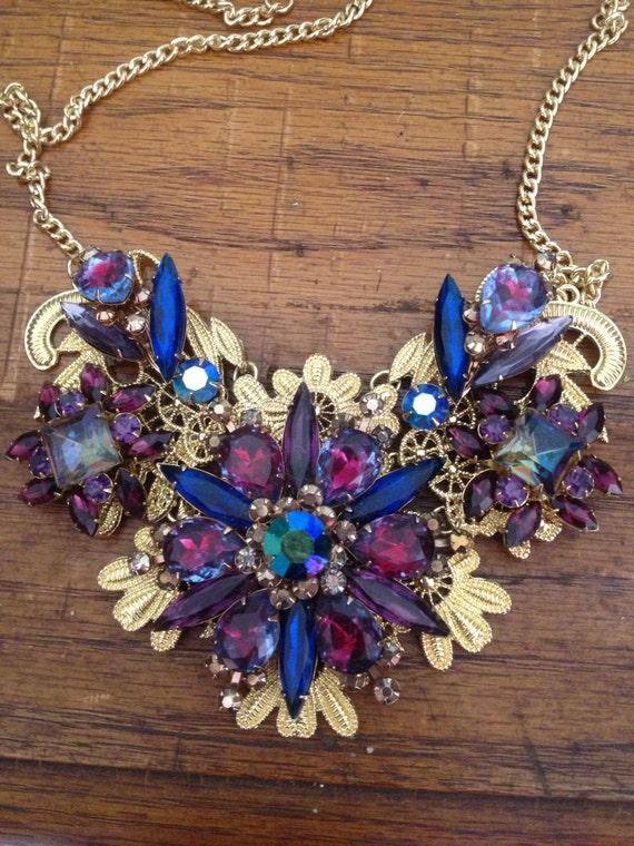 items similar to repurposed vintage jewelry bib necklace