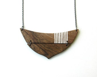 Natural Wood Necklace Geometric Necklace Eco Friendly Necklace Minimal  Necklace Made to Order