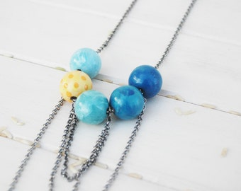 Blue and Yellow Bead Necklace Boho Necklace Colorful Beaded  Wood Necklace