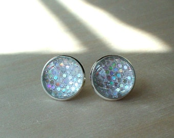 20% OFF -- Glittering White / multi color Stud Earrings / perfect gift for her