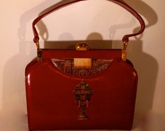 "Leather french vintage couture  red handbag ""Sublime Renaissance""unique piece  retro chic art bag steampunk bag french  touch"