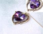 Amethyst Shawl Pin, Silver Shawl Pin, Victorian Heart Shawl Pin, Swarovski, scarf pin, hat pin, purple, lapel pin, stick pin, fall fashion