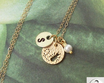 Favorite Aunt Necklace, Personalized Necklace, Gold Ant Necklace, 14K gold filled, initial, hand stamped, matte, gf, bug, open