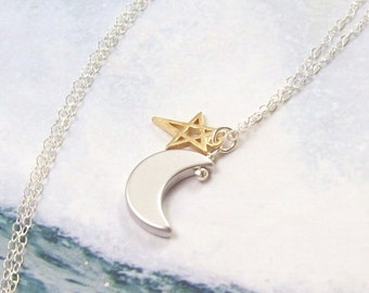 Moon and Star Necklace, Silver Crescent Moon Necklace, sterling silver, rhodium, gold star, open, minimal, simple, matte, summer, astrology