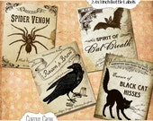 Halloween Bottle Labels 2.4x3 inches Digital Collage Sheet  - INSTANT Printable Download - Grungy Crow, Bat, Spider and Cat - Creepy Designs