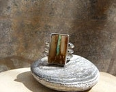 Royston Ribbon Turquoise and silver ring, size 7.5  -  8