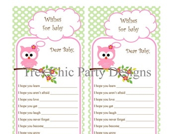 Baby Shower Cards, Baby Shower Advice Cards, Owl Advice Cards, Mommy To Be
