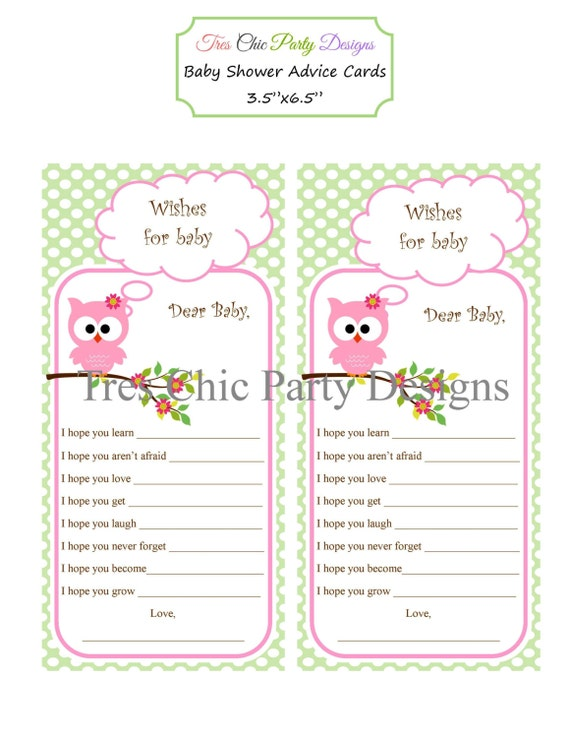 baby shower cards baby shower advice cards owl advice cards mommy