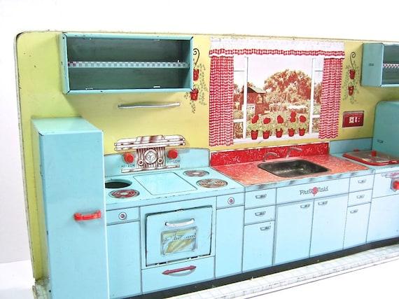 Vintage Toy Kitchen Marx Pretty Maid Tin By Dairyfarmantiques
