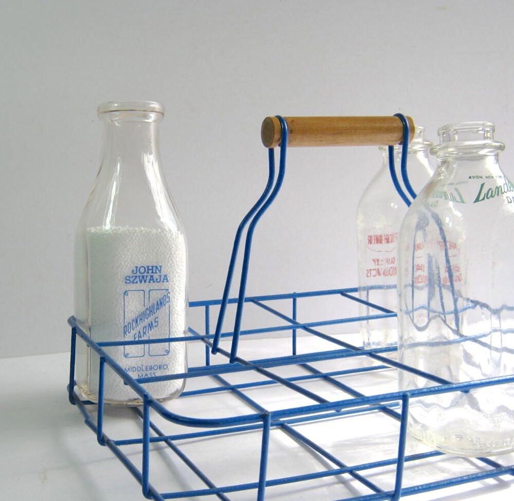 vintage milk bottle carrier blue wire basket by. Black Bedroom Furniture Sets. Home Design Ideas