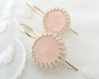Rose quartz earrings, Blush pink earrings, sterling silver earrings, Drop earrings, bridal earrings,bridesmaids gifts, Dangle earrings,