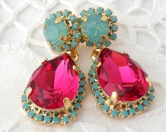 Pink seafoam mint and turquoise Chandelier earrings, Dangle earrings, Swarovski rhinestones earrings, Drop earrings, estate style jewelry