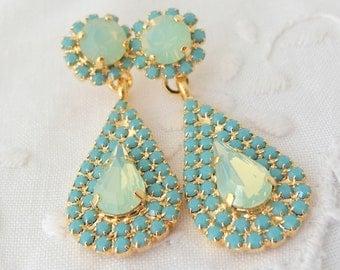 Mint opal and turquoise Chandelier earrings, Bridal earrings, 14k Gold, Dangle earrings, Drop earrings, Rhinestone earrings, bridesmaids