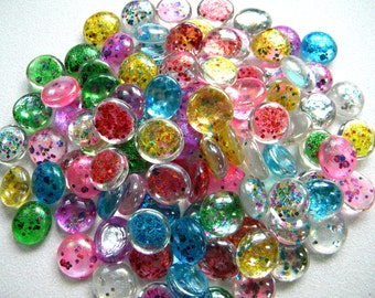 25 Glass Gems  - Multi Color CONFETTI Glitter Gems - Candle/Floral Display - Half Marbles/Cabochons - Sample Size