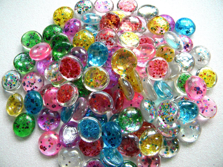 Single Colored Marbles : Glass gems multi color confetti glitter