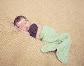 crochet mermaid tail & coconut top for newborn halloween costume / photography prop