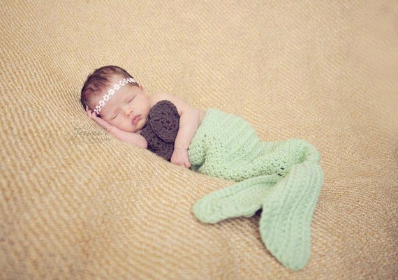 crochet mermaid tail & coconut top for newborn halloween costume / photography prop