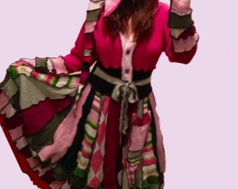 Fairy or elf coat of upcycled sweaters in your choice of color palettes