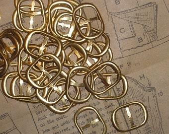 Item 035 --- Six Brass Slider Buckles for 1/2 inch Wide Ribbon or Belt