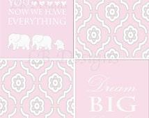 Gray and Pink Nursery, Elephant Nursery Decor, Girl's Jungle Nursery Prints, Pink Elephant Decor - 8x10s