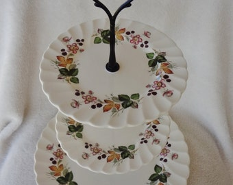 3-Tiered Dessert Stand Vintage Myott Staffordshire Olde Chelsea Hedgerow Plates