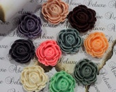 SALE 20 pcs matte flower cabochon flat back resin mix color fl0800