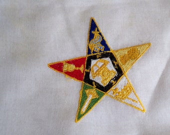 Vintage Religious Order of the Eastern Star Hanky Embroidered