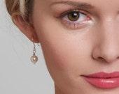 White Ivory Pearl Earrings - Bridal Earrings, Wedding Pearl Earrings Swarovski Pearls in Silver - Bride, Bridal, Round 8mm Pearls