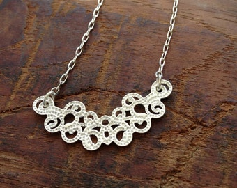 Lace Necklace in Silver, pretty necklace, jewelry necklace,pendant necklace,white necklace,beautiful necklace