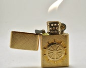 RESERVED for Ericka (theundersong)  ONLY Working 14 Karat Gold Plated Nautical Ships Wheel Lighter with Certificate of Authenticity Like New