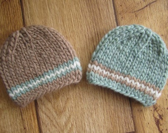 Newborn Taupe Tan and Light Blue Chunky Wool Knit Beanies  - Boy Twin Set - Ready to Ship Newborn Photography Prop, RTS Photo Prop