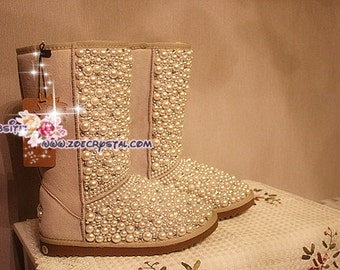 New Year Sales  Sales 20% off  - Winter Promotion Bling and Sparkly Sand SheepSkin Wool BOOTS w Creamy White Pearls