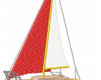 Sail Boat Embroidery Design - Instant Download