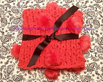Red Baby Photography Prop Blanket Large Faux Fur Pom Pom