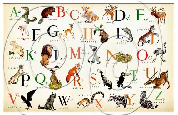 Fabuleux LARGE SiZe Animal ENGLISH Alphabet Horizontal 36 x 24 RM17