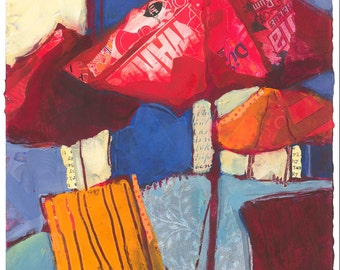 Red Umbrellas Original Painting