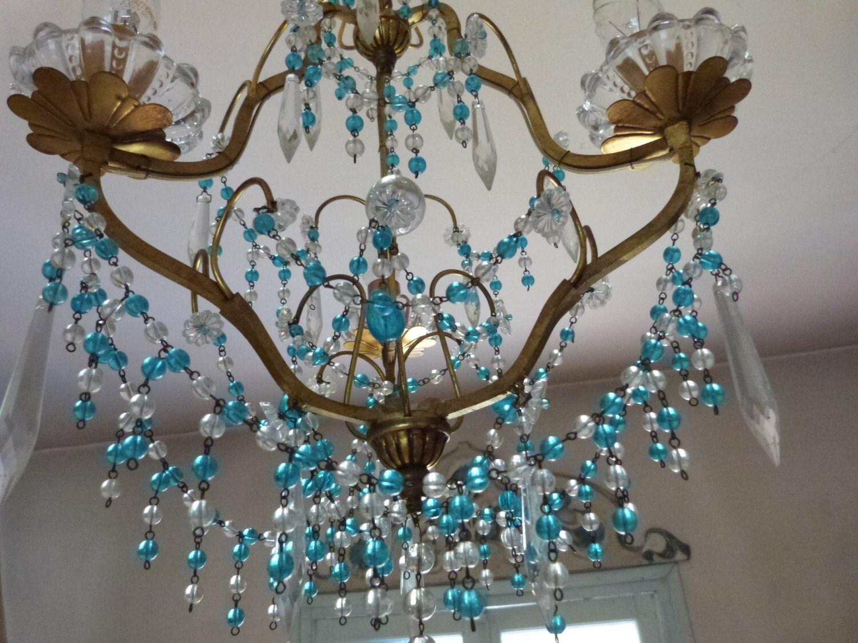 Antique French Crystal Bronze Chandelier Hanging Lighting