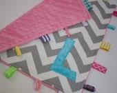 Personalized Chevron baby sensory blanket toy lovey -  turquoise pink aqua grey - girls shower gift nursery