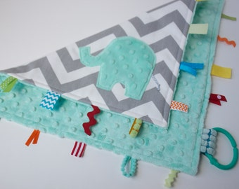 Chevron elephant lovey lovie blanket, sensory blanket toy, opal seafoam mint grey gray, modern baby gender neutral girl boy gift