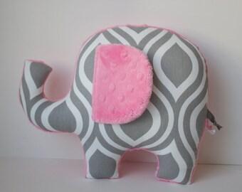 Modern elephant pillow, Geometric, grey gray pink nursery, baby shower gift decor