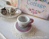 Pink  Bird and Saucer for Dollhouse