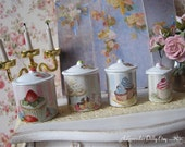 Shabby Cupcake Kitchen Canisters for Dollhouse 1/12 Scale
